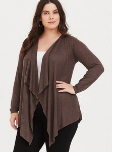 Brown Drape Knit Cardigan